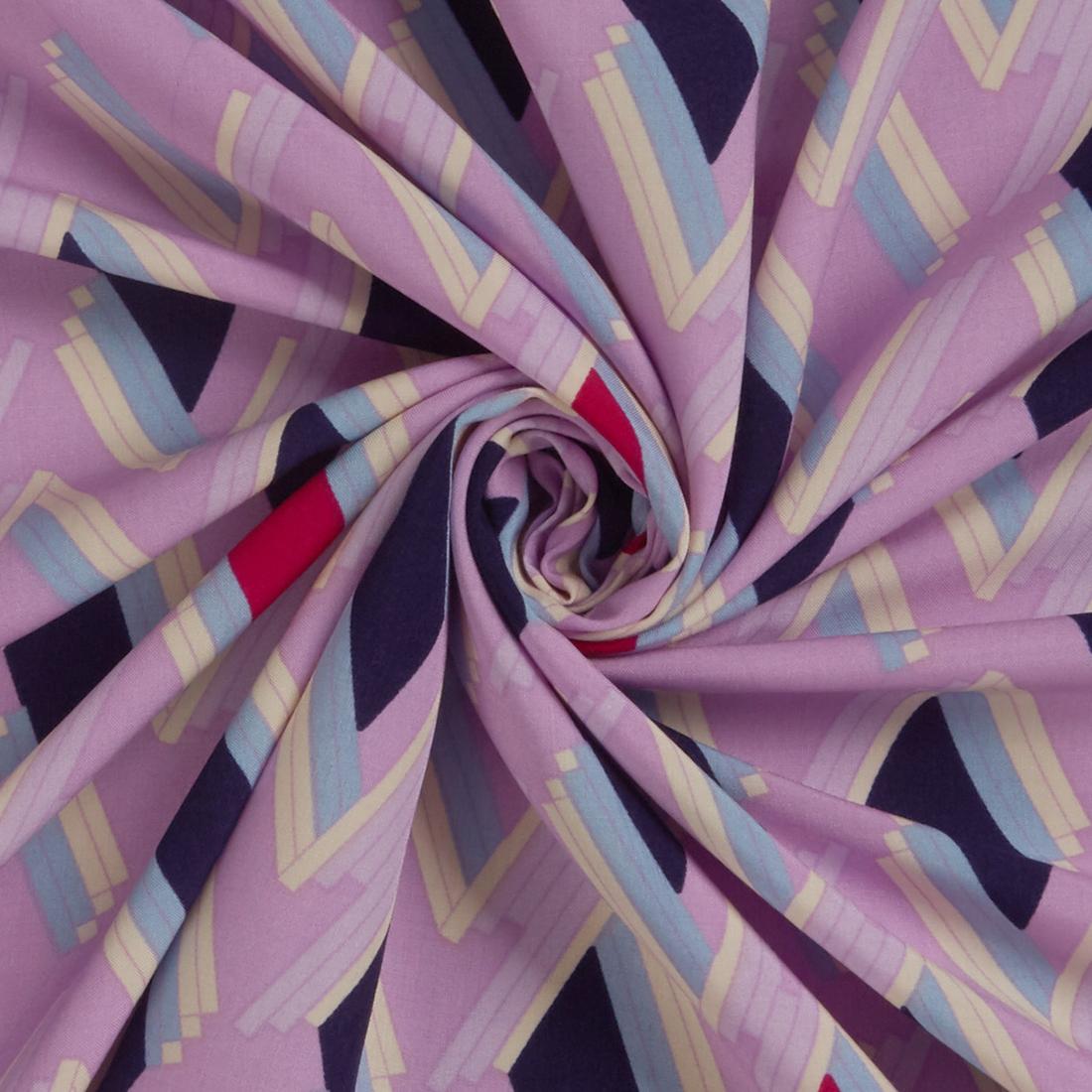 Geo Viscose Lilac Dress Fabric