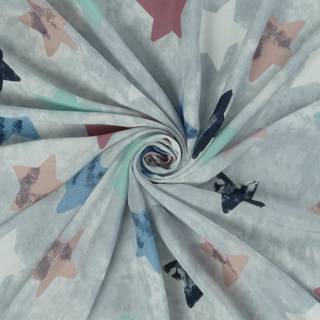 Stars Viscose Grey Dress Fabric