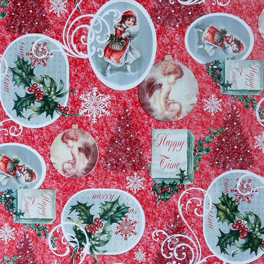 Happy Time Christmas Oil cloth
