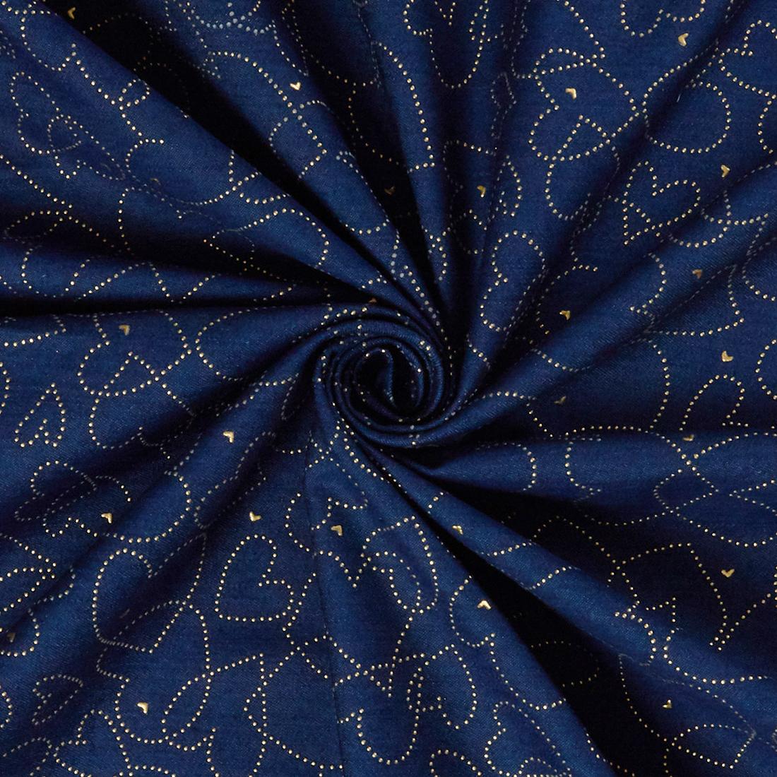 Heart Stud Denim Blue Dress Fabric