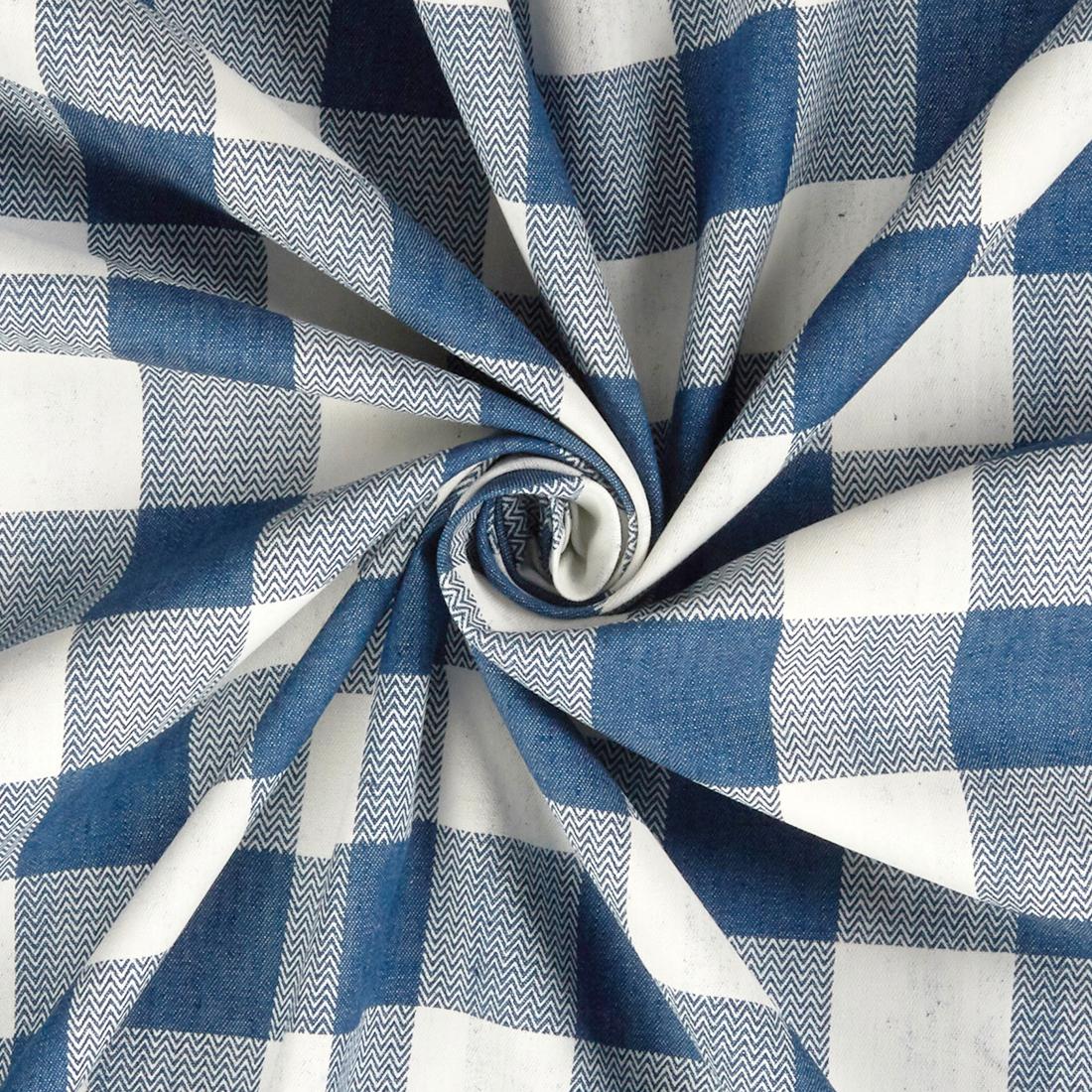Herringbone Gingham Blue White Dress Fabric