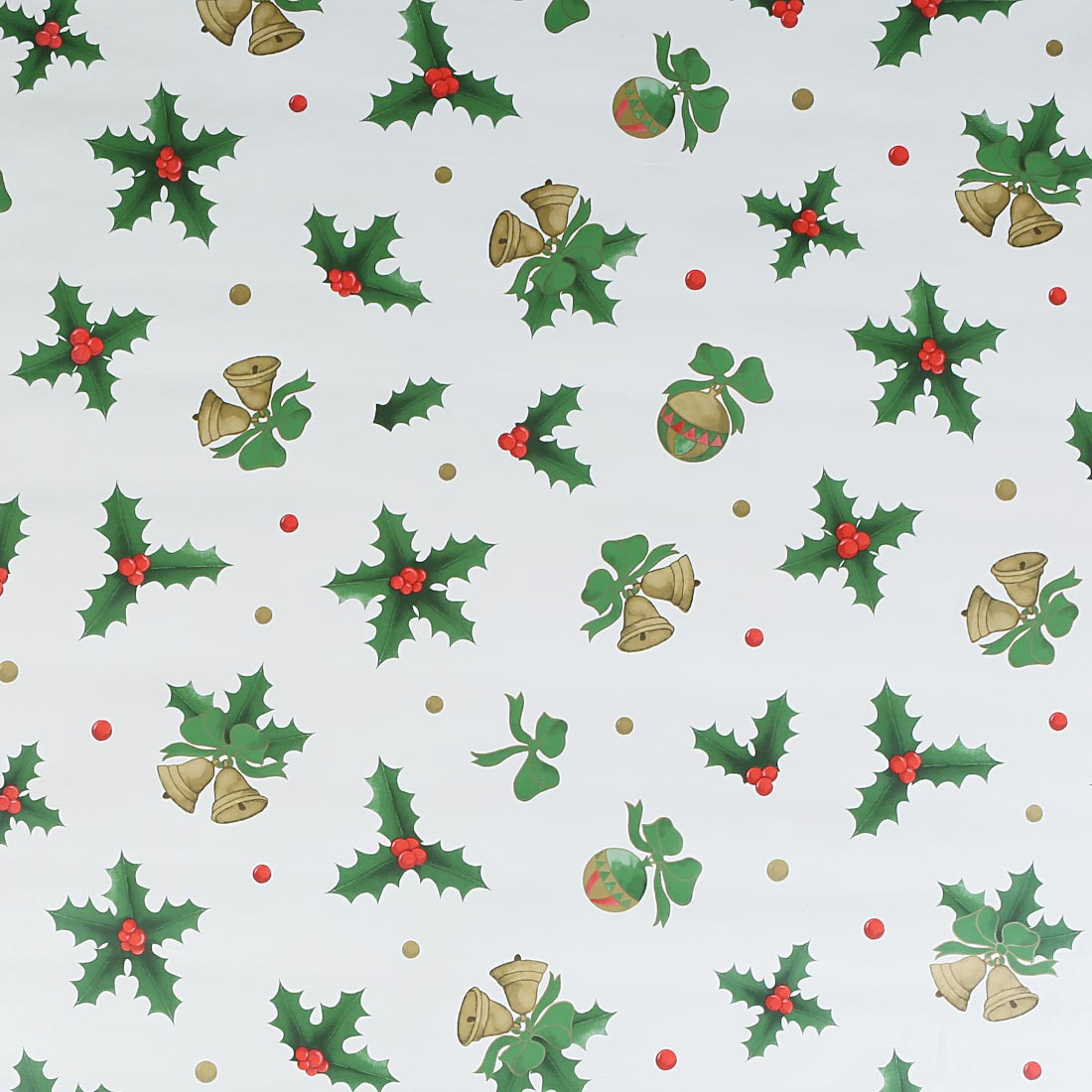 Holly Green Gold Christmas Oil Cloth