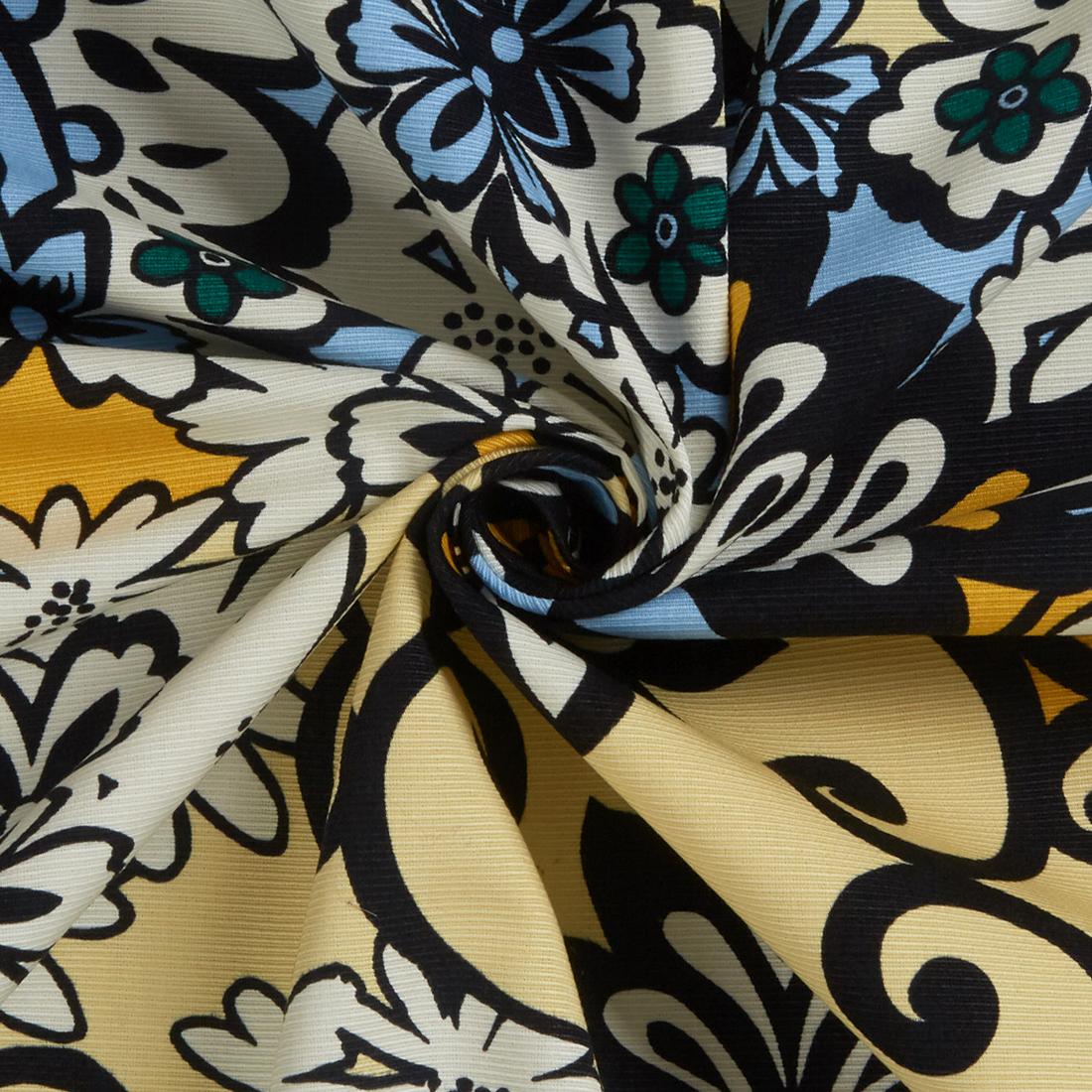 Kaleidoscope Grosgrain Sky Lemon Dress Fabric
