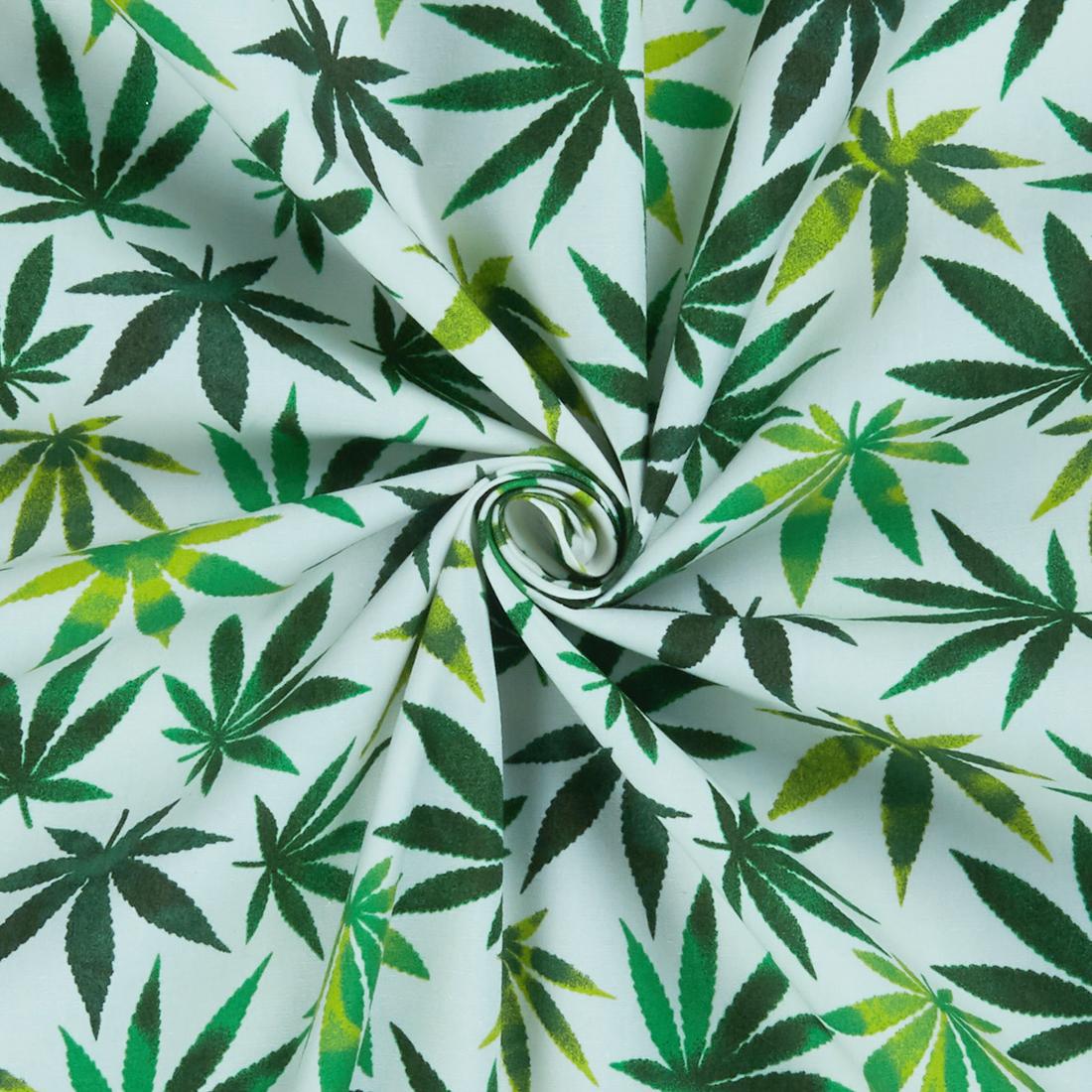 Leafy Cotton Ivory Dress Fabric