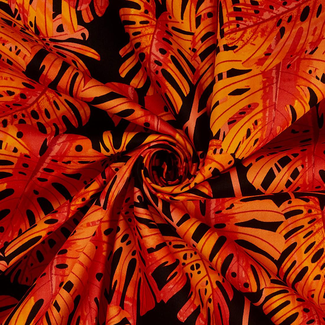 Leaves Orange Dress Fabric