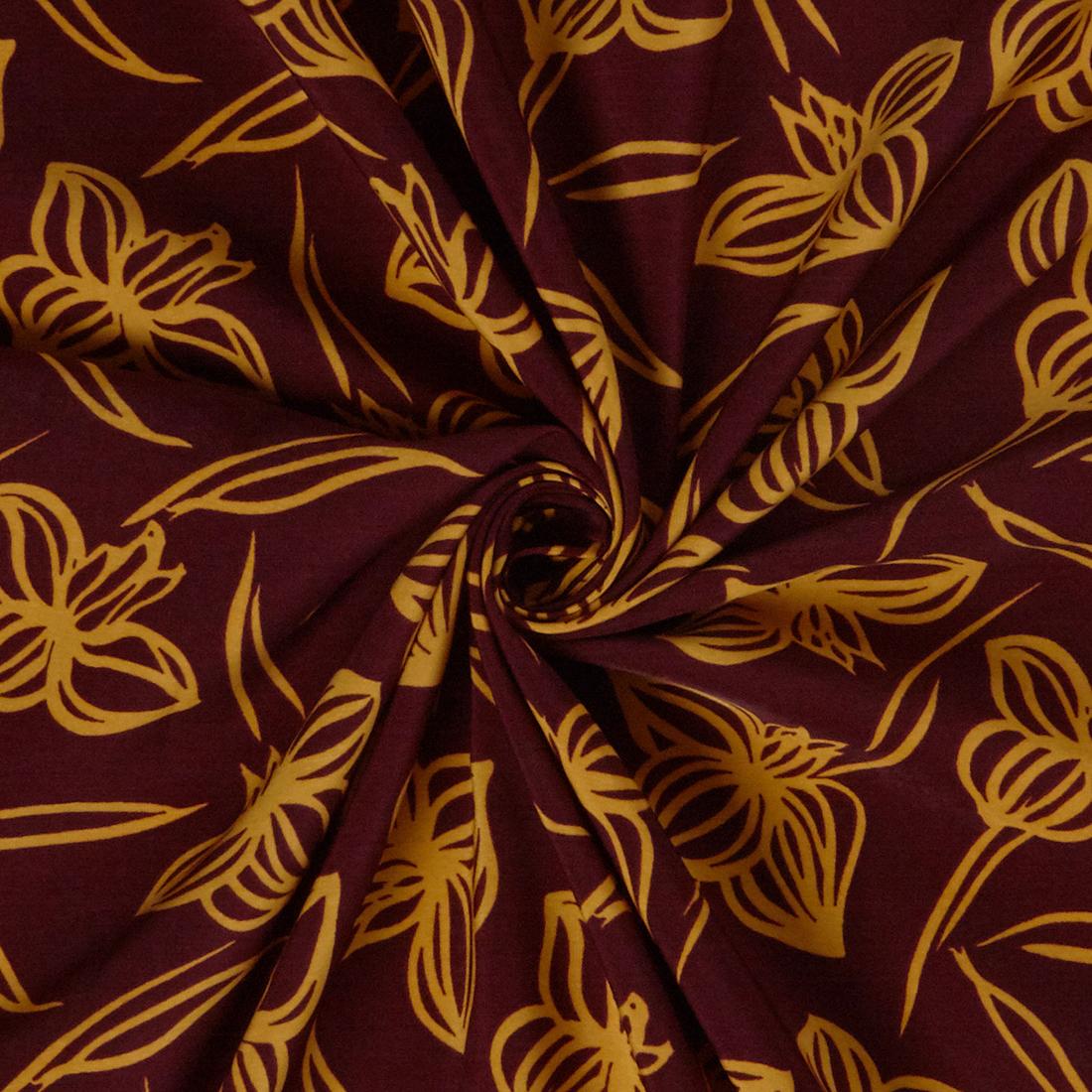 Line Floral Crepe Burgundy Dress Fabric
