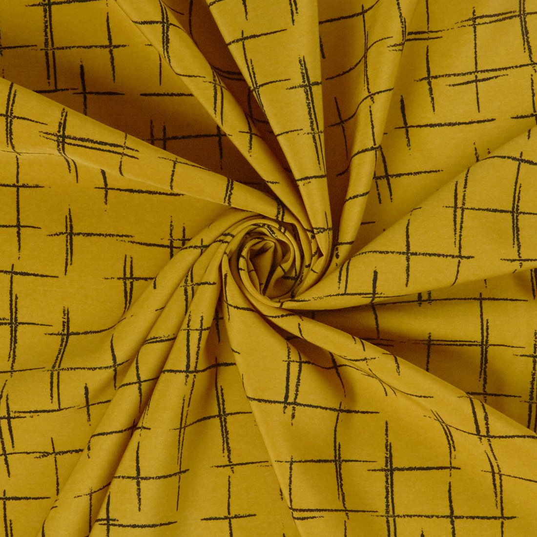 Linear Crepe Ochre Dress Fabric