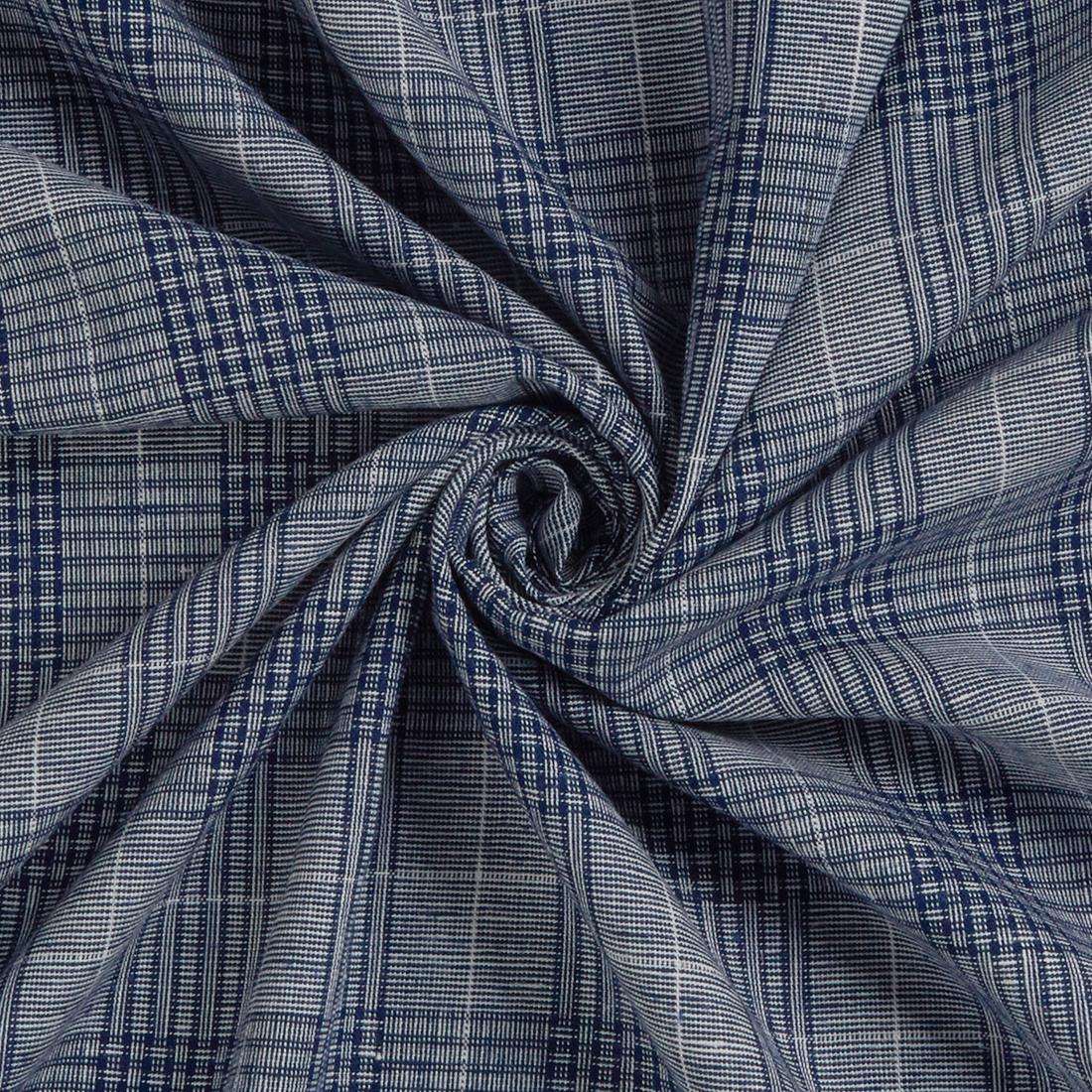 Linen Mix Check Navy Dress Fabric