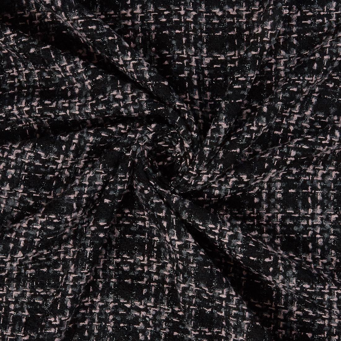 Lurex Tweed Pink Black Dress Fabric