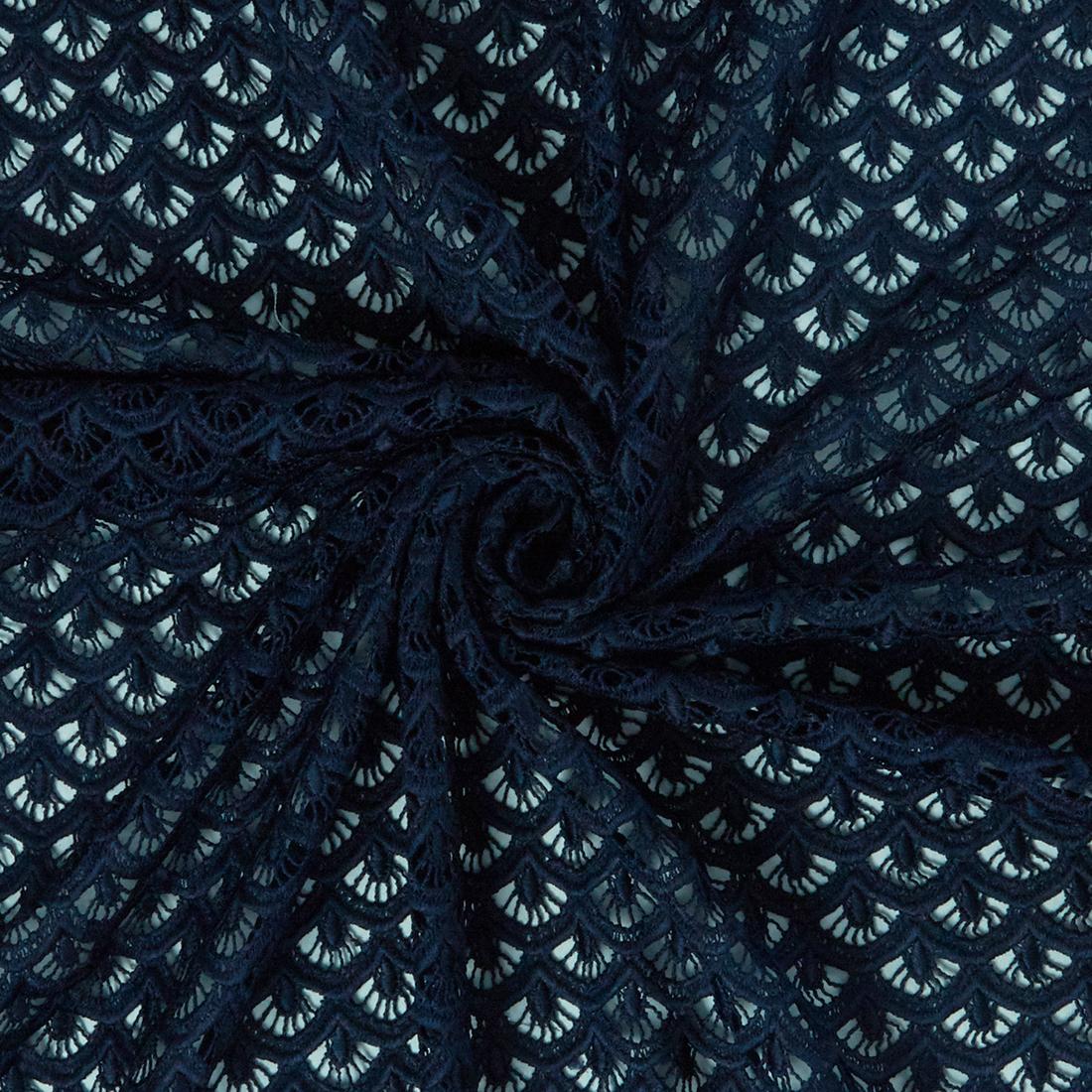 Mantilla Scallop Lace Navy Dress Fabric