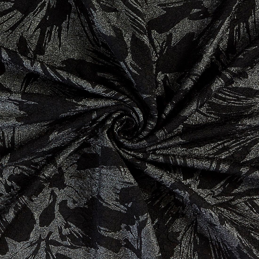 Metallic Textured Jersey Black Silk