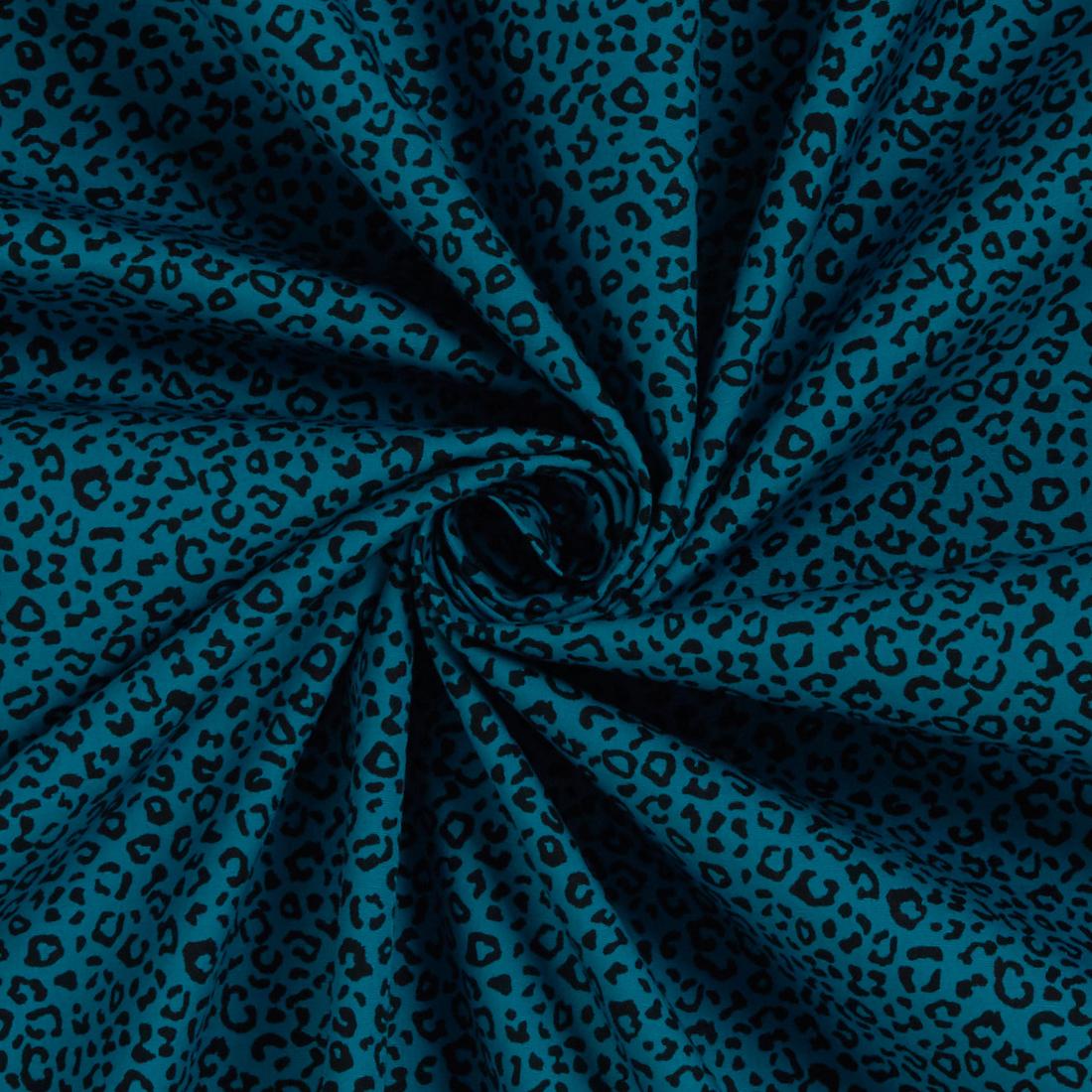 Mini Leopard Teal Dress Fabric