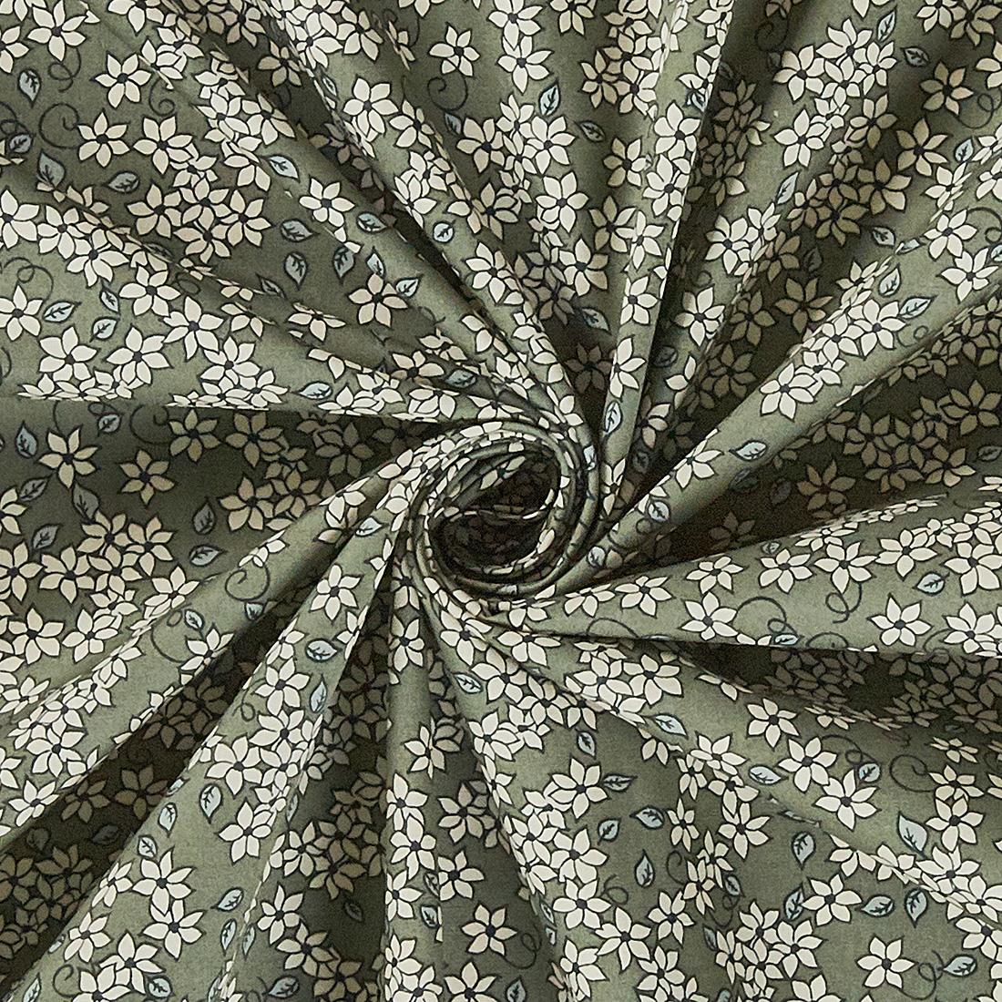 Cotton Mono Ditsy Floral Silver Sage