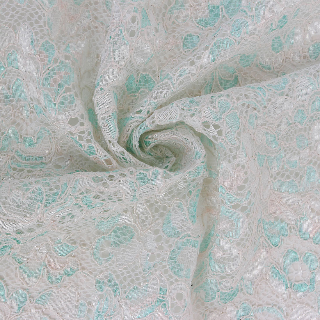 Mono Scalloped Border Lace Mint/Ivory