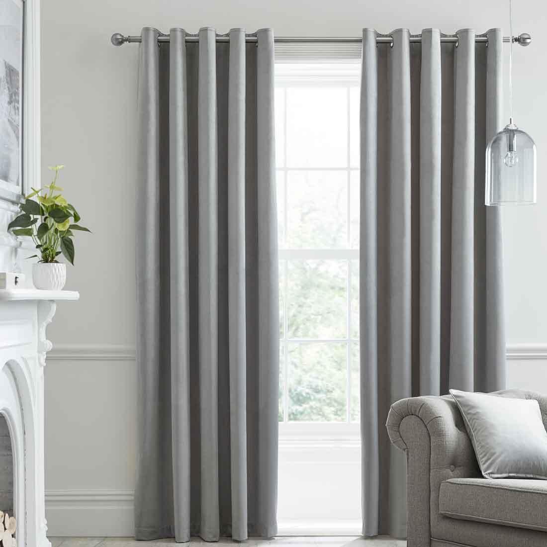 Montrose Silver Blackout Eyelet Curtains