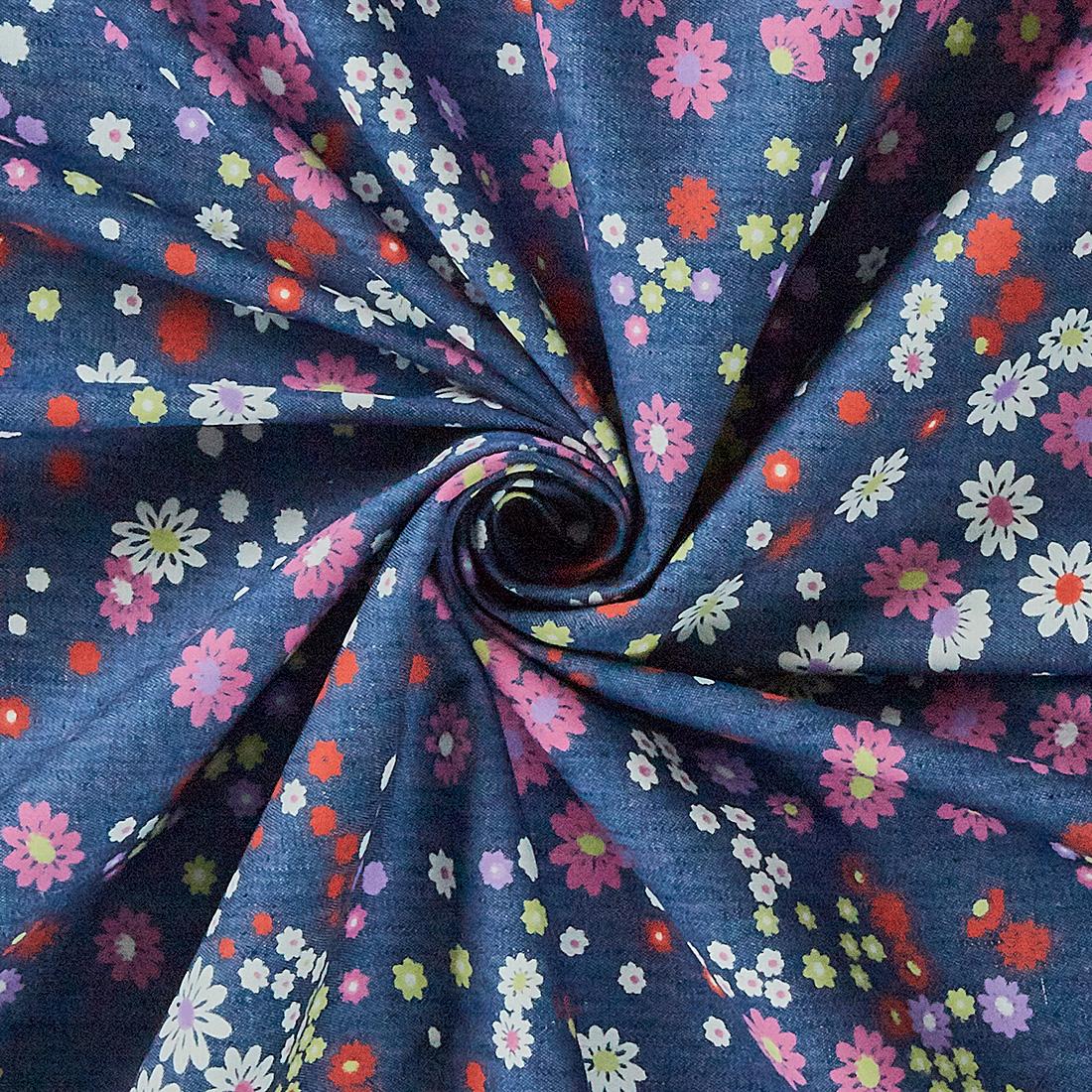Cotton Multi Flower Denim Print Dark