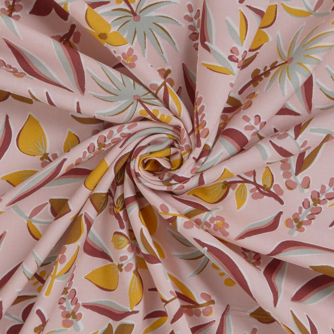 Naive Floral Viscose Rose Dress Fabric