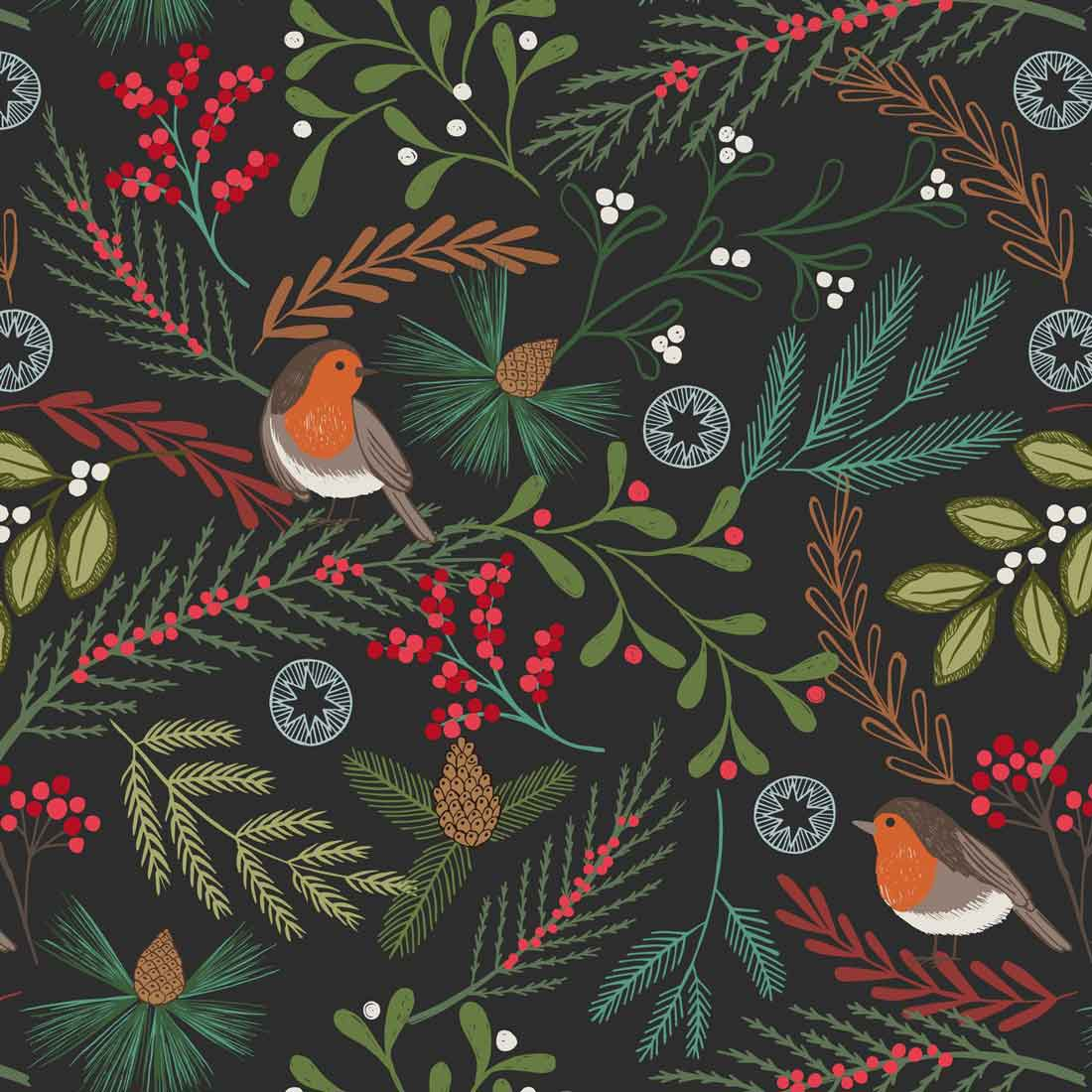 New Forest Winter Robins Black Craft Fabric