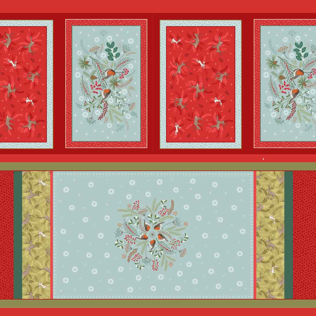 New Forest Winter Panel Multi Craft Fabric