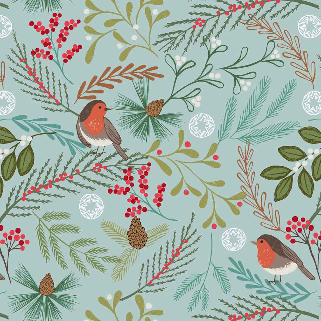 New Forest Winter Robins Duckegg Craft Fabric