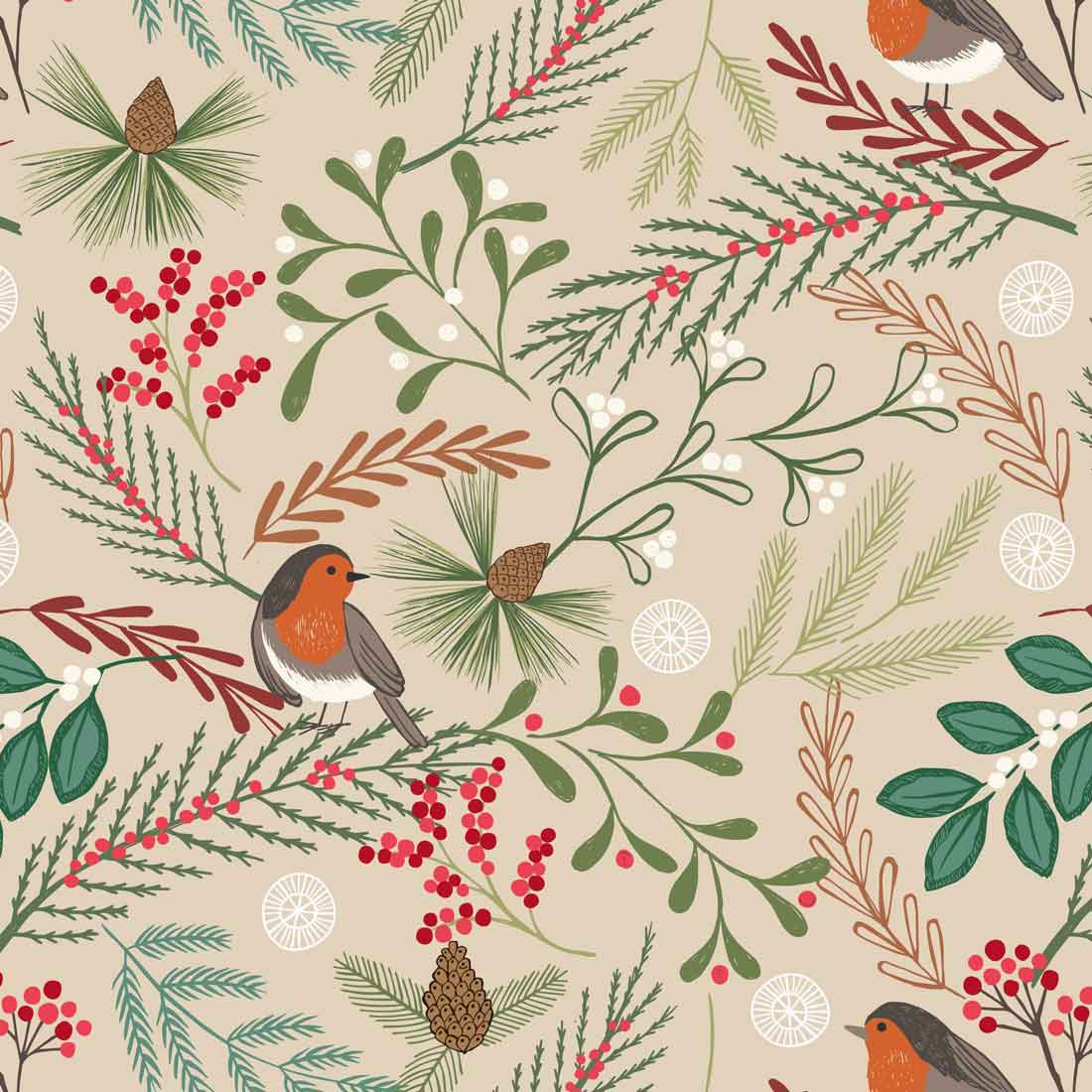 New Forest Winter Robins Natural Craft Fabric