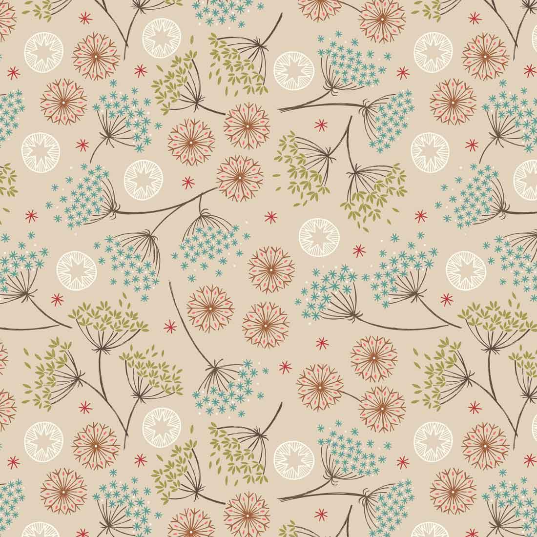 New Forest Winter Thistle Natural Craft Fabric