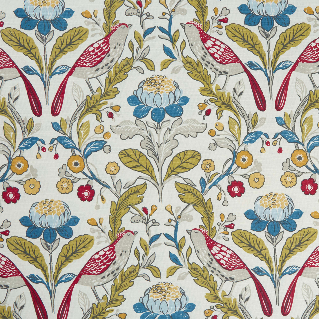 Orchard Birds Rouge Upholstery Fabric