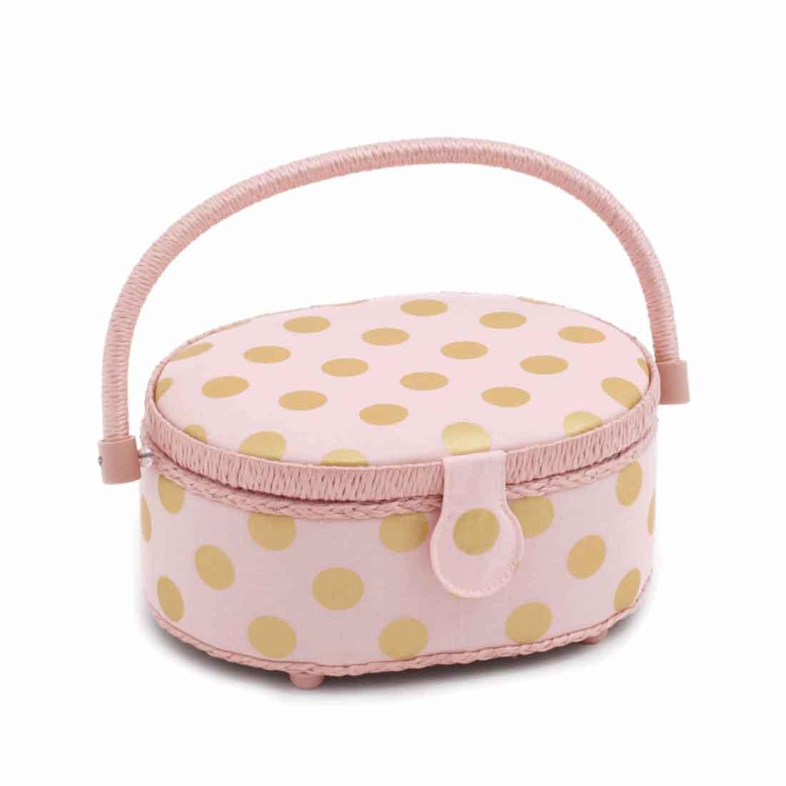 Oval Blush Dot Sewing Basket