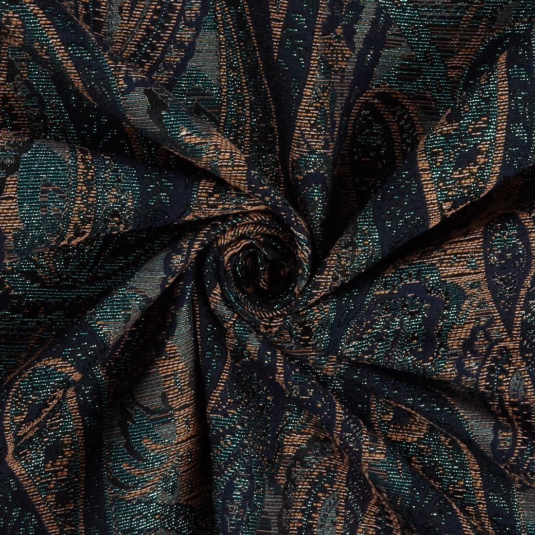 Paisley Brocade Navy Teal Dress Fabric