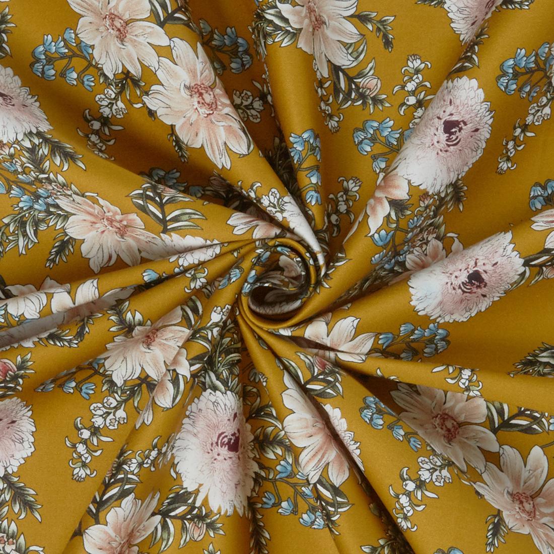 Peony Cotton Sateen Ochre Dress Fabric