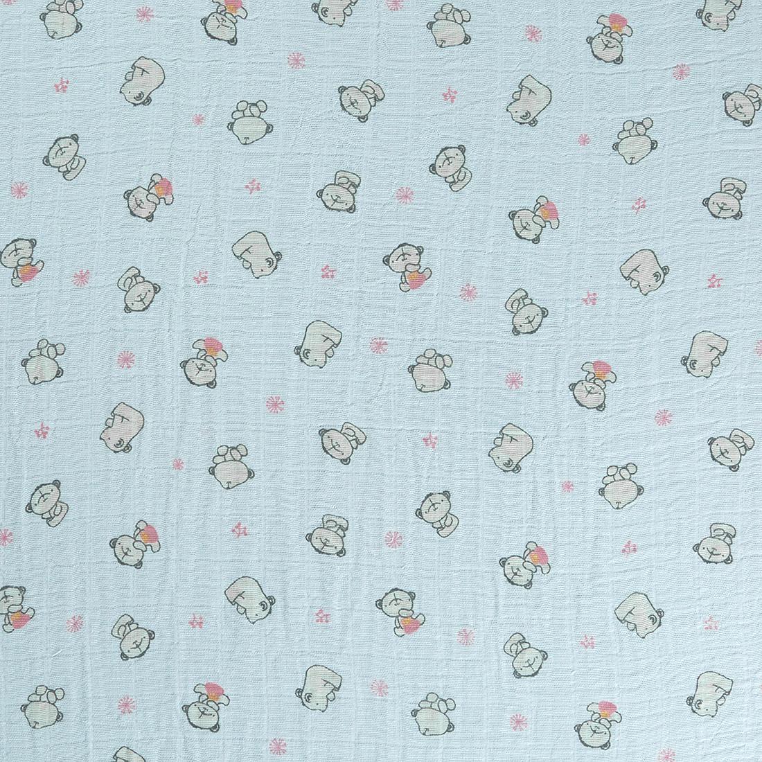 Printed Muslin Bears Pink Craft Fabric