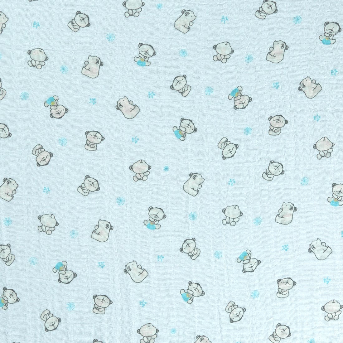 Printed Muslin Bears Turquoise Craft Fabric