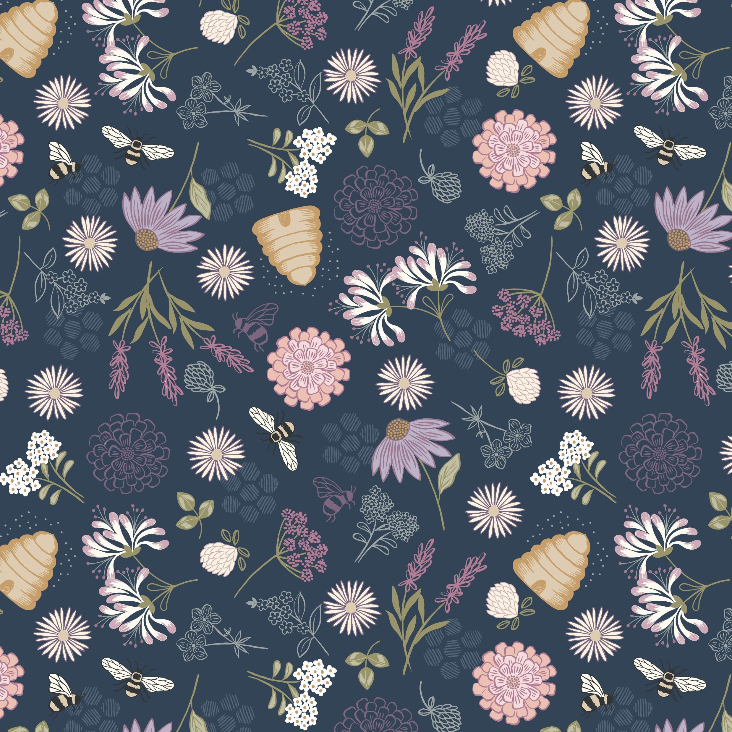 Queen Bee Floral Navy craft Fabric