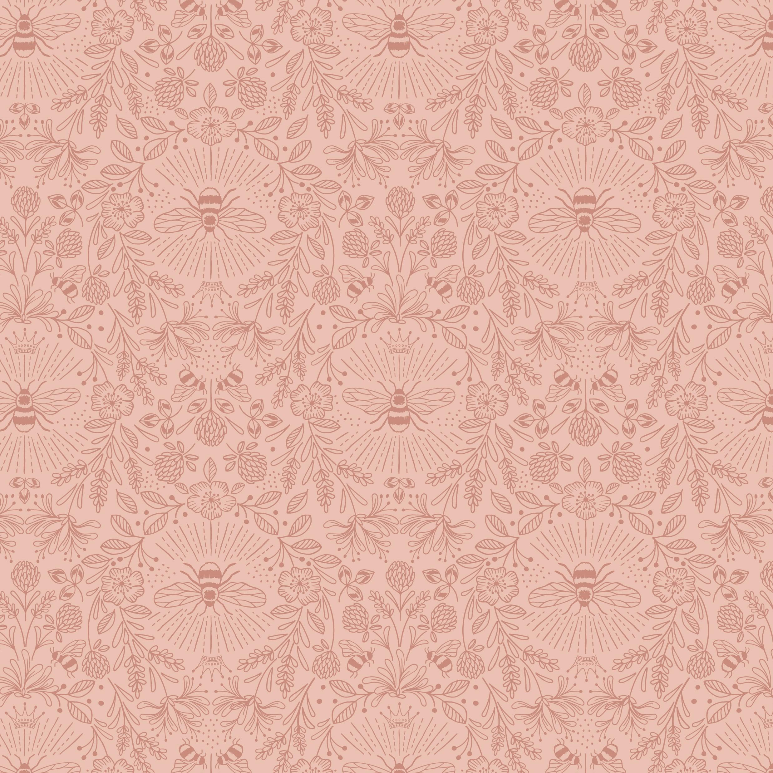 Queen Bee Mono Blush Craft Fabric