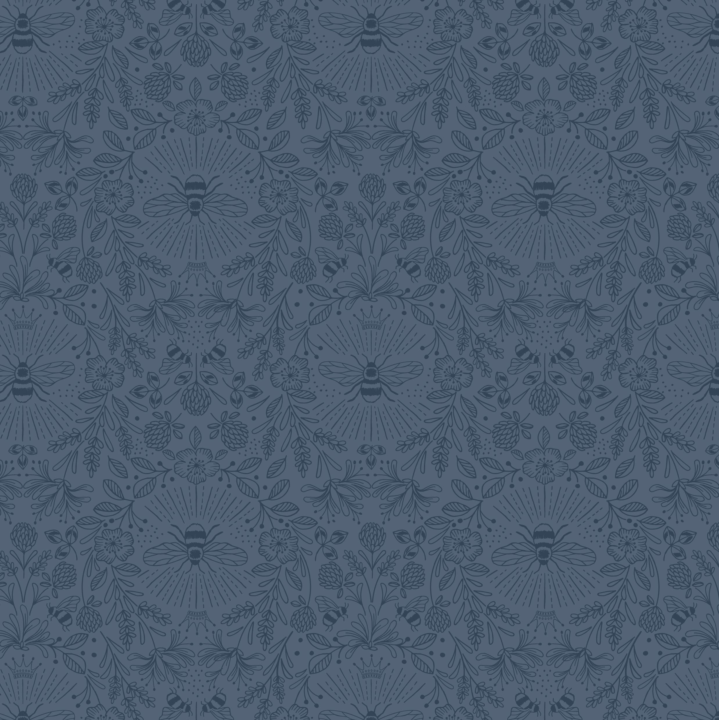 Queen Bee Mono Navy Craft Fabric