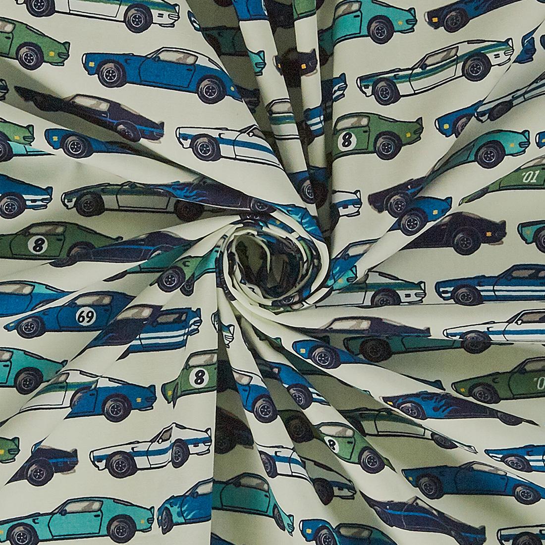 Cotton Race Car Print Blue