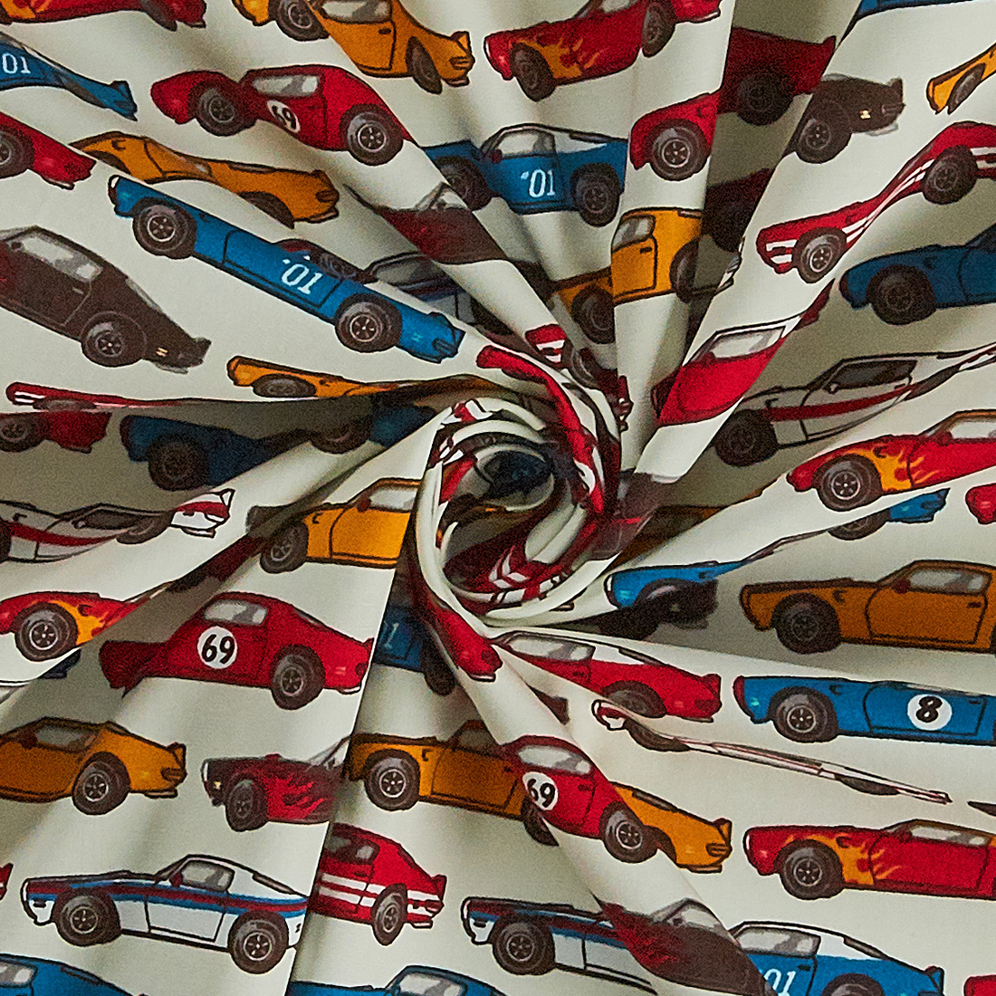 Cotton Race Car Print Multi
