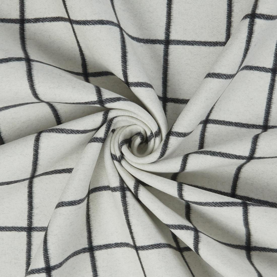 Reversible Wool Check Black White Dress Fabric