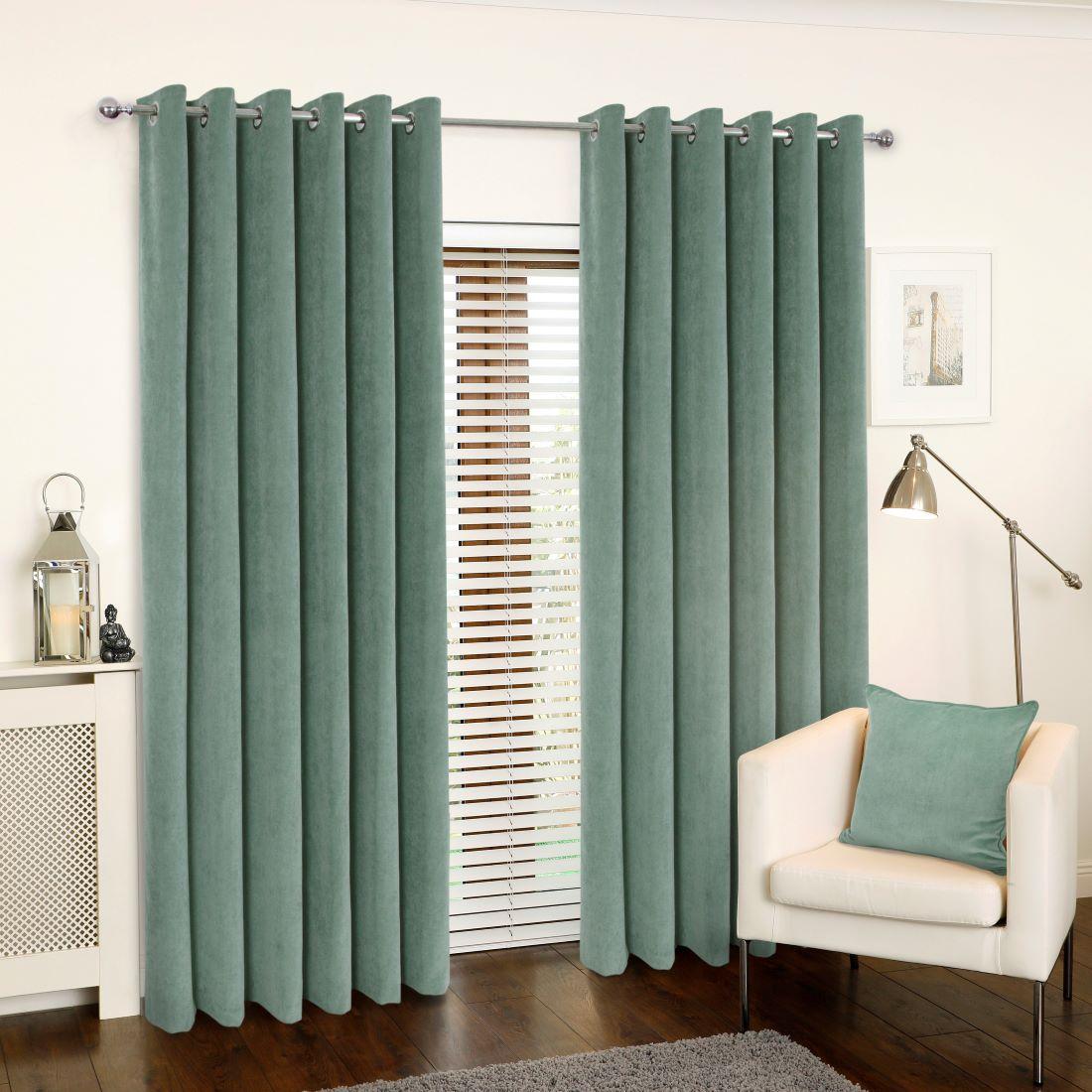 Rib Velour Eucalyptus Eyelet Curtains