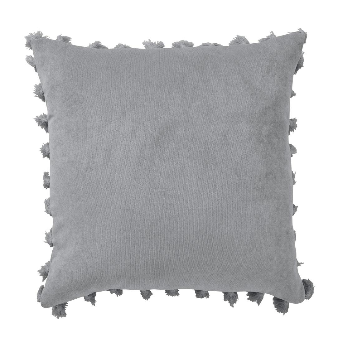 Rib Velour Tassel Grey Cushion