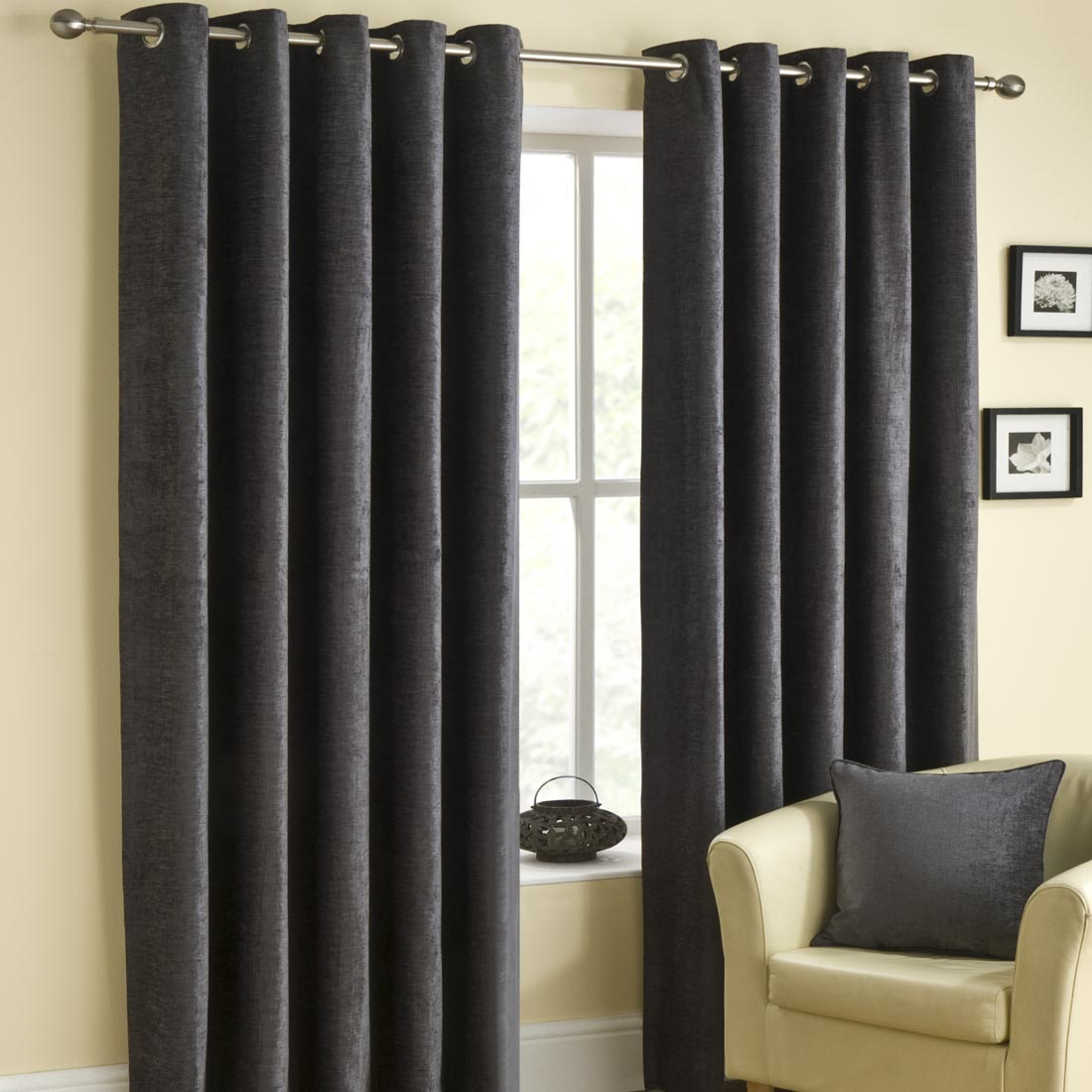 Rico Eyelet Pewter Curtains
