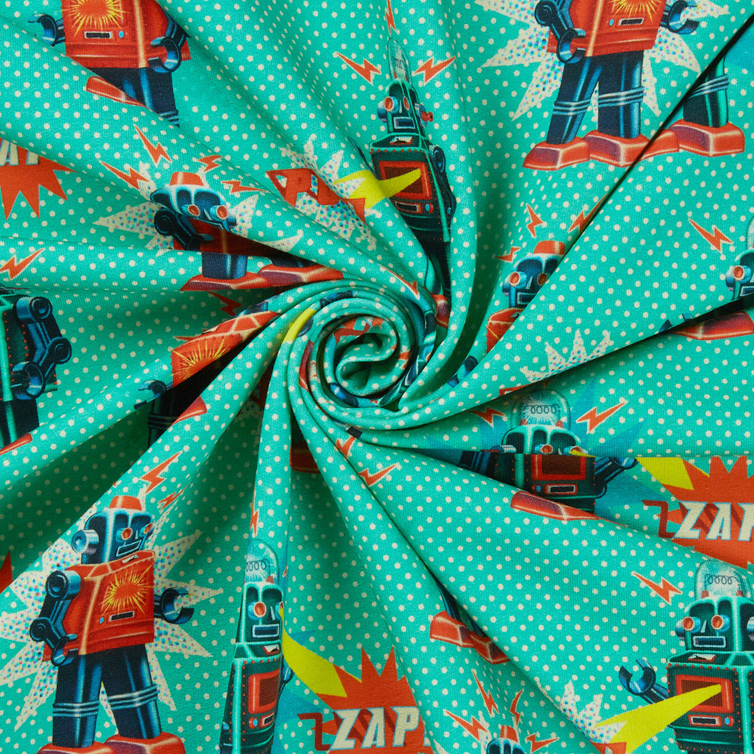 Robot Jersey Aqua Dress Fabric