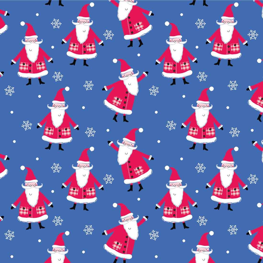Santa Reindeer Blue Craft Fabric