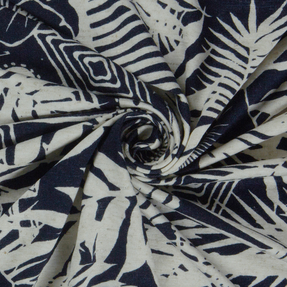 Silhouette Jersey Navy Dress Fabric