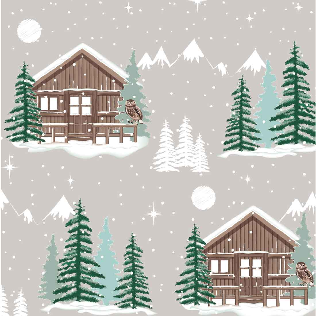Snowy Woodland Lodge Grey Craft Fabric