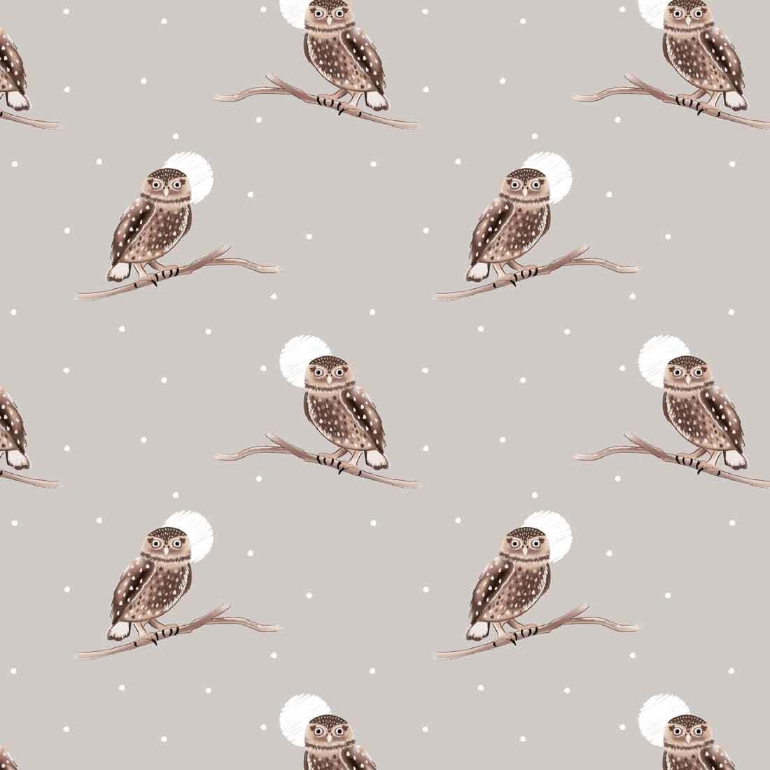 Snowy Woodland Owls Grey Craft Fabric