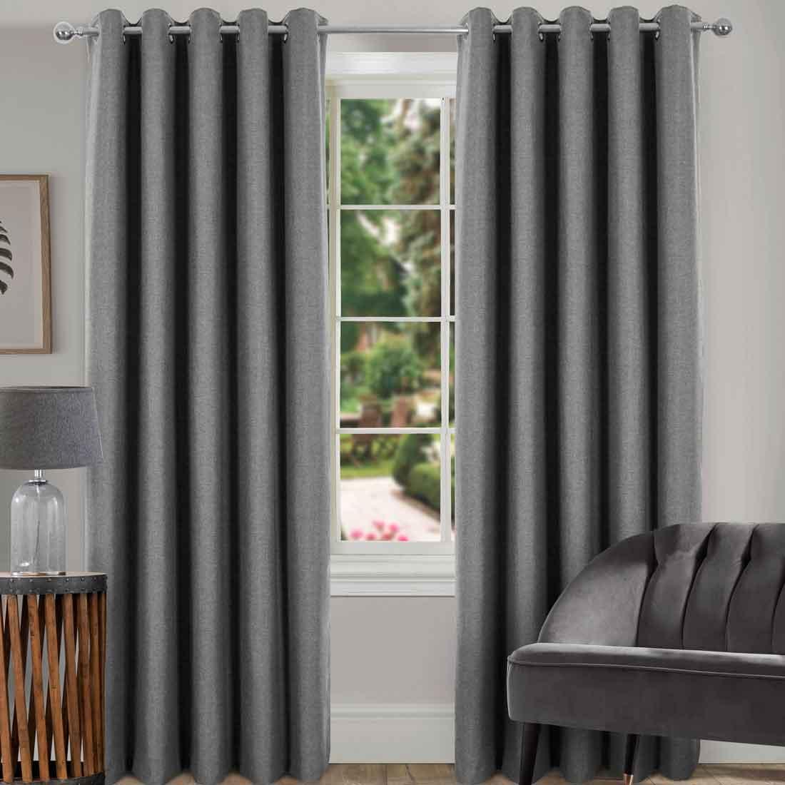 Spencer Grey Blackout Eyelet Curtains
