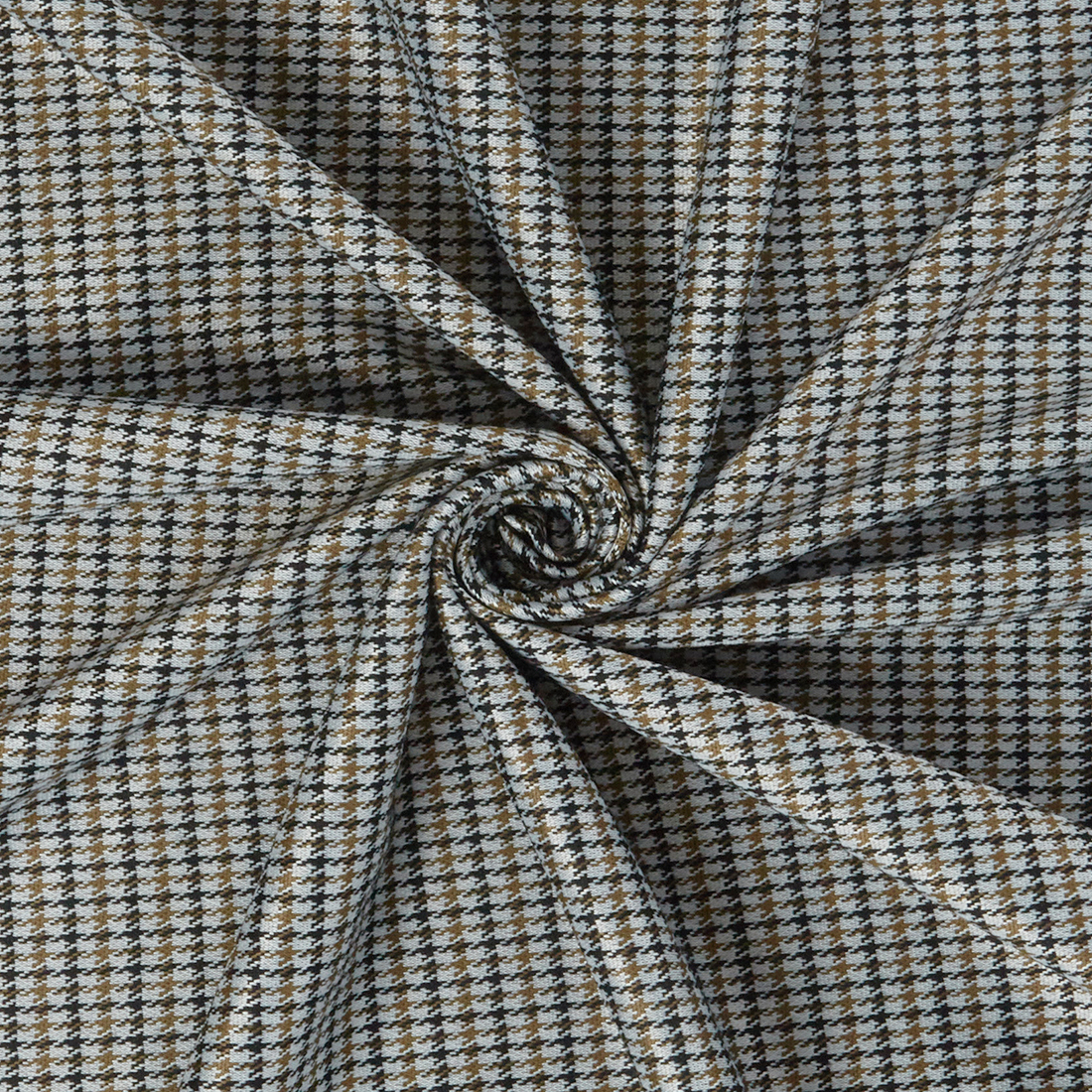 Stretch Check Suiting Tobacco Dress Fabric