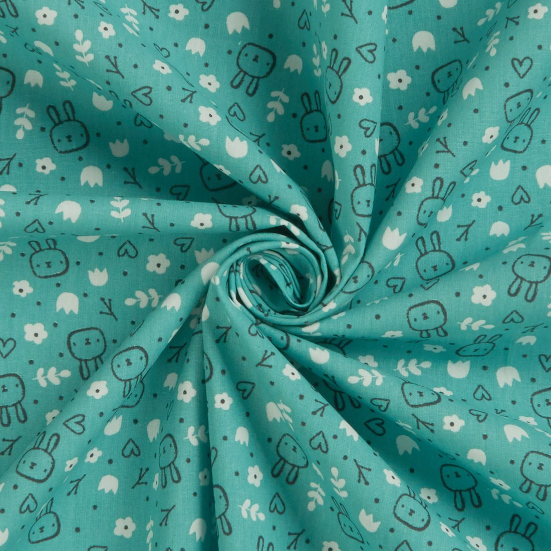 Sweet Bunny Brushed Cotton Duckegg Fabric