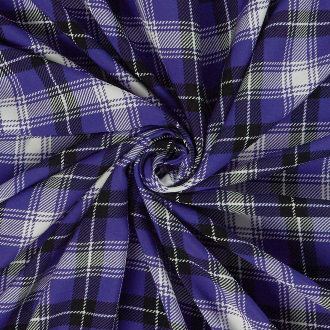 Tartan Viscose Purple Dress Fabric